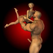 Strongman caresses and fucks a petite girl
