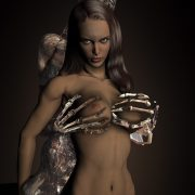Lustful fantasy creatures, beautiful nude babes, witches and skeletons.