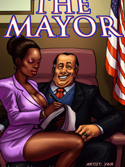Mayor fucks his ebony skinned secretary and she sucks his cock.