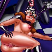 Cartoon whore Batgirl gets cumshot on her face
