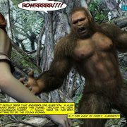 Giant ape fucks a girl in the forest