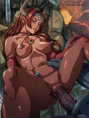 Horny young anime redhead with pink nipples and a nice rack on all four getting banged