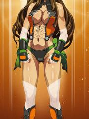 Buxom sexy anime babe posing