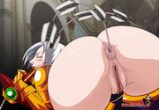 Busty hentai goddess getting massive breasts teased and giving blowjob