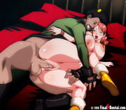 Dirty anime hunk squeezing a girl's melons