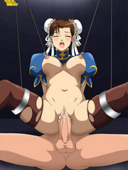 Anime brunette sucks a nasty old dick