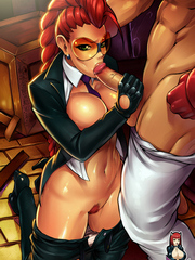 Huge titted redheaded hentai bitch riding a monster dick like crazy