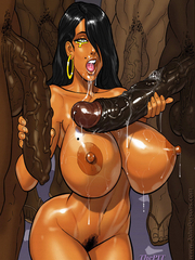 Big cartoon boobs covered with cum - interracial