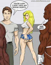 Sexy white-skinned girl takes her hubby to gym to see black men's cocks.
