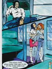 Lesbian sex in train