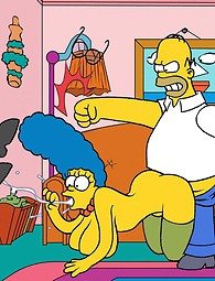 Simpson xxx - Homer fucks Marge together with another man, Marge lies on the floor covered with cum.