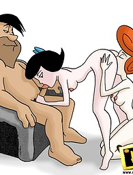 Flintstones unen para Betty. Barney y ambos Flintstones golpeando Betty prima juntos