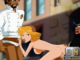 Blond hottie from Totally spies take two cocks at once.
